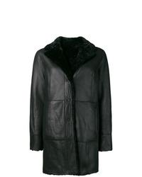 Manteau en peau de mouton retournée noir Drome