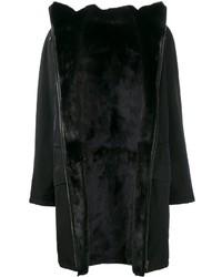 Manteau en peau de mouton retournée noir