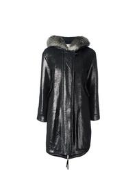 Manteau en peau de mouton retournée noir Moncler