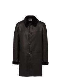 Manteau en peau de mouton retournée noir Prada