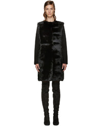 Manteau en peau de mouton retournée noir Yves Salomon