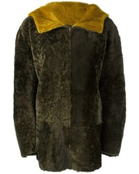 Manteau en peau de mouton retournée olive