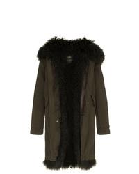 Manteau en peau de mouton retournée olive Mr & Mrs Italy