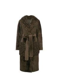 Manteau en peau de mouton retournée olive Yves Salomon