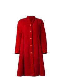 Manteau en peau de mouton retournée rouge
