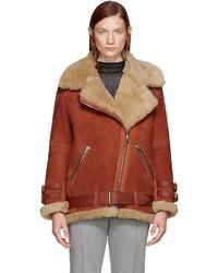 Manteau en peau de mouton retournée rouge Acne Studios