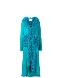 Manteau en peau de mouton retournée turquoise