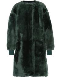 Manteau en peau de mouton retournée vert foncé Chloé