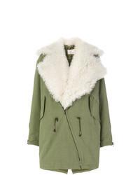 Manteau en peau de mouton retournée vert menthe
