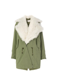 Manteau en peau de mouton retournée vert menthe As65
