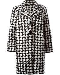 Manteau en pied-de-poule blanc et noir