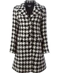 Manteau en pied-de-poule blanc et noir Moschino