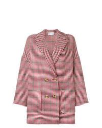 Manteau en pied-de-poule rouge RED Valentino