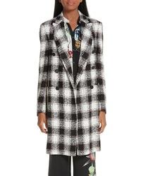 Manteau en tweed à carreaux noir et blanc