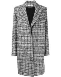 Manteau en tweed à carreaux noir et blanc Lanvin