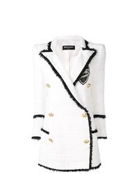 Manteau en tweed blanc Balmain