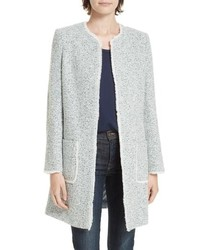 Manteau en tweed bleu clair