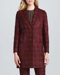 Manteau en tweed écossais bordeaux Tory Burch