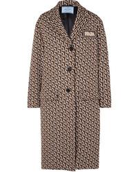 Manteau géométrique marron Prada