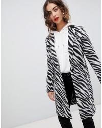 Manteau imprimé blanc et noir Mango