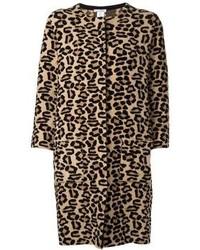 Manteau imprimé léopard brun clair Oscar de la Renta