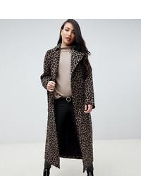 Manteau imprimé léopard marron foncé Asos Tall