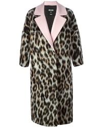 Manteau imprimé léopard brun MSGM
