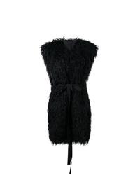 Manteau sans manches en fourrure noir MM6 MAISON MARGIELA