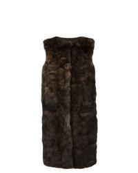 Manteau sans manches marron foncé