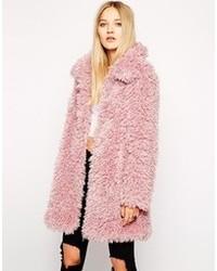 Manteau texturé rose