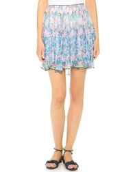 Minijupe à fleurs bleu clair Nina Ricci