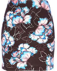 Minijupe à fleurs noire