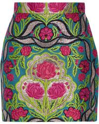 Minijupe à fleurs olive Gucci