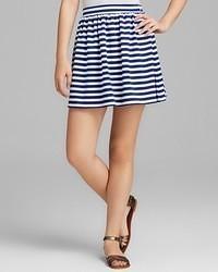Minijupe à rayures horizontales blanc et bleu