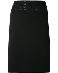 Minijupe en broderie anglaise noire Emilio Pucci