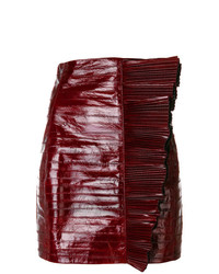 Minijupe en cuir bordeaux Saint Laurent