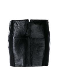 Minijupe en cuir noire Courreges