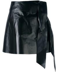 Minijupe en cuir noire Valentino