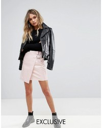 Minijupe en cuir rose Missguided