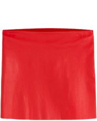 Minijupe en cuir rouge