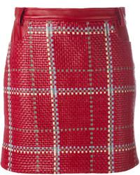 Minijupe en cuir rouge Magda Butrym