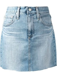 Minijupe en denim bleu clair AG Jeans