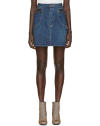 Minijupe en denim bleue Saint Laurent