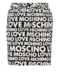 Minijupe en denim imprimée noire Moschino