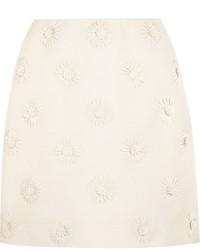 Minijupe en laine à fleurs blanche Valentino