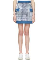 Minijupe en tweed bleu clair