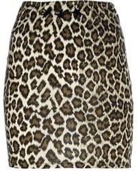 Minijupe imprimée léopard marron Jean Paul Gaultier