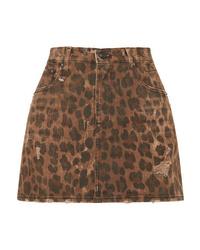 Minijupe imprimée léopard marron R13