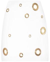Minijupe ornée blanche Versace