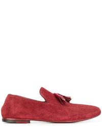 Mocassins à pampilles en cuir rouges Rocco P.